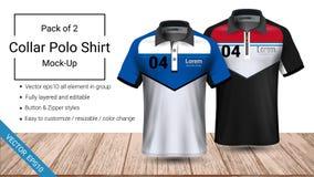 Polokragen-T-Shirt Schablone, Datei des Vektors eps10 völlig überlagert und editable vorbereitet, um das Kundenspezifisch anferti vektor abbildung