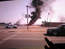 Polokwane strike. Residents not having water. People burning tires, running at paledi mall to get goverments attentipn Royalty Free Stock Image