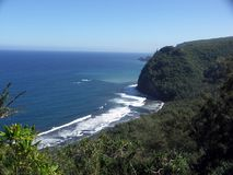 Pololu Valley Lookout. End of the road, Kohala Coast, north of Hawi, Big Island of Hawaii. Pololu Valley Lookout, where hiking trail leads to beach, below Royalty Free Stock Photo
