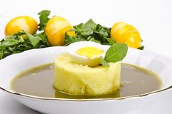 Polonaise sour sorrel soup. A fresh Polonaise sour sorrel soup Stock Photography