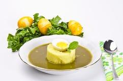 Polonaise sour sorrel soup. A fresh Polonaise sour sorrel soup royalty free stock photos