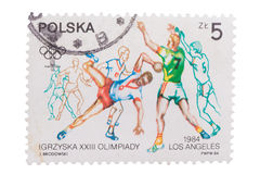 POLONIA - CIRCA 1984: el sello imprimió en demostraciones a las series de i Fotos de archivo libres de regalías