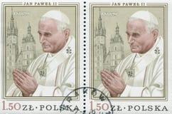 POLONIA, circa 1982: el sello imprimió en Polonia que mostraba una imagen de Juan Pablo II, circa 1982 Fotos de archivo