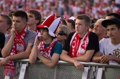Polonia contra el emparejamiento de Grecia en el euro 2012 Foto de archivo libre de regalías