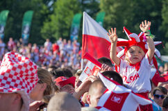 Polonia contra el emparejamiento de Grecia en el euro 2012 Fotos de archivo