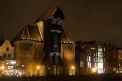 POLONIA, GDANSK - 12 DE DICIEMBRE DE 2014: Una vista de la grúa medieval famosa Imágenes de archivo libres de regalías