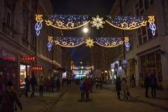 POLONIA, KRAKÓW - 31 DE DICIEMBRE DE 2014: Celebración del Año Nuevo 2015 Fotografía de archivo