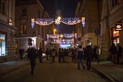 POLONIA, KRAKÓW - 31 DE DICIEMBRE DE 2014: Celebración del Año Nuevo 2015 Fotos de archivo libres de regalías