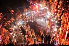 POLONIA, KRAKÓW - 1 DE ENERO DE 2015: Celebración del Año Nuevo 2015 Fotos de archivo