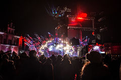 POLONIA, KRAKÓW - 1 DE ENERO DE 2015: Celebración del Año Nuevo 2015 Imagenes de archivo