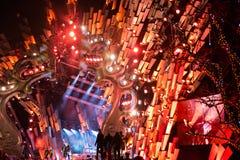 POLONIA, KRAKÓW - 1 DE ENERO DE 2015: Celebración del Año Nuevo 2015 Imagen de archivo libre de regalías