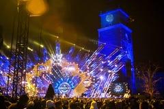 POLONIA, KRAKÓW - 1 DE ENERO DE 2015: Celebración del Año Nuevo 2015 Foto de archivo libre de regalías