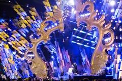 POLONIA, KRAKÓW - 1 DE ENERO DE 2015: Celebración del Año Nuevo 2015 Fotografía de archivo