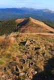 Polonina Carynska kulle i Bieszczady berg i sydostliga Polen - den Bieszczadzki nationalparken Royaltyfri Bild