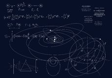 Formulas of classical mechanics, Newton`s laws. Physics of motion of bodies, the laws of gravity and optics. Formulas on a dark background vector illustration