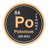 Polonium Po chemical element. 3D rendering. Polonium Po chemical element sign. 3D rendering isolated on white background vector illustration