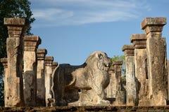 Polonnaruwa废墟, Nissanka Mallas宫殿,斯里兰卡 免版税库存照片