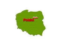 Polonês verde do símbolo do mapa, bandeira polonesa Imagens de Stock