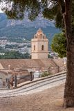 Polop Castle panorama. One of Spain most visited castle located in Alicante province.  royalty free stock photo