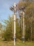 Polos concretos para los alambres eléctricos Foto de archivo libre de regalías