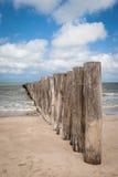Polos de madeira na praia no Pas de Calais, França Foto de Stock
