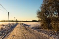 Polos de teléfono por un camino nevoso del campo Imágenes de archivo libres de regalías