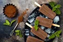 Polos del dulce de azúcar de la menta del chocolate del plátano del vegano El hielo libre de la lechería cremosa hecha en casa ha Fotografía de archivo libre de regalías