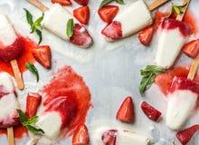 Polos del helado del yogur de la fresa con la menta foto de archivo libre de regalías