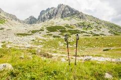 Polos del senderismo en el fondo de montañas Imágenes de archivo libres de regalías