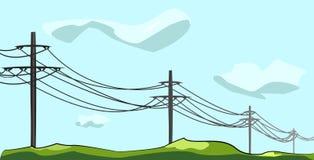 Polos eléctricos con los alambres en el aire abierto debajo del cielo y de las nubes ilustración del vector