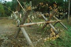 Polos y alambre de púas de la cerca del camino Imagen de archivo