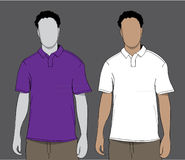 Poloshirtpurple en wit Stock Afbeelding