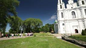 Polotsk Vitryssland Boris Stone Also Called Dvina sten nära domkyrka av St Sophia Panna panorama arkivfilmer