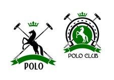 Polovereinemblem mit Pferde- und Sporteinzelteilen Lizenzfreie Stockbilder