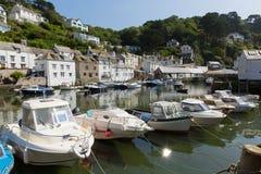 Polperro boats Cornwall England UK Royalty Free Stock Photo