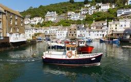 Polperro boats Cornwall England UK Stock Image