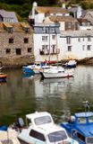Polperro Harbor Boats Village Stock Photo