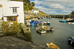 Polperro Harbour. A shot of the harbour in the small Cornish fishing port of Polperro stock photo