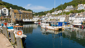 Polperro harbour Cornwall England with blue sky Stock Image