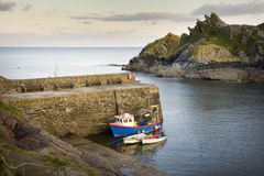 Polperro harbour cornwall uk early evening Royalty Free Stock Images