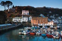 Polperro op de Cornwall kust van Engeland Stock Foto's