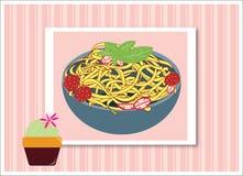Polpetta degli spaghetti con il fiore del cactus Fotografie Stock Libere da Diritti
