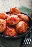 Polpette della Turchia con salsa al pomodoro Immagine Stock
