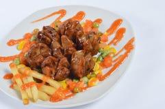 Polpette fritte con la salsa di peperoncino rosso Immagine Stock