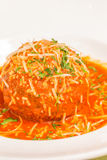Polpettone al Pomodoro. A very large Italian meatball bathed in rich pomodoro sauce, garnished with parmesan and parsley Royalty Free Stock Photography