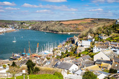 Polruan Cornwall England. Path down to the village of Polruan Cornwall with Fowey on the opposite side of the river Stock Image