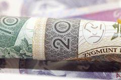 Polscy banknoty, zakończenie Fotografia Stock