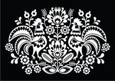 Polscy ludowej sztuki wzoru koguty na czerni - Wzór Lowickie, Wycinanka Zdjęcie Royalty Free
