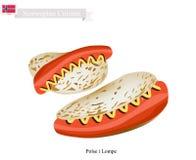 Polse i Lompe ou hot-dog, un aliment de Polpular de la Norvège illustration libre de droits