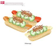 Polsevogn ou hot-dog, un aliment de Polpular du Danemark Images stock